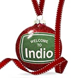 Christmas Decoration Green Road Sign Welcome To Indio Ornament