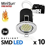 Pack of 10 - MiniSun Fire Rated Polished Chrome Daylight/Cool White SMD LED GU10 Ceiling Downl