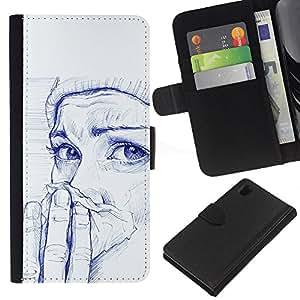 KLONGSHOP // Tirón de la caja Cartera de cuero con ranuras para tarjetas - Pintura Chica Cold Winter Pintura Arte - Sony Xperia Z1 L39 //