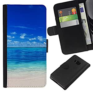 LECELL--Cuero de la tarjeta la carpeta del tirón Smartphone Slots Protección Holder For HTC One M9 -- Maldivas --