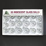Club Pack of 20 Multi-Sized Clear Iridescent Glass Ball Christmas Ornaments