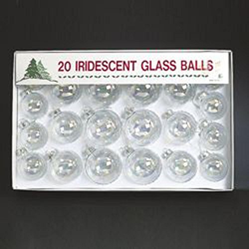Club Pack of 20 Multi-Sized Clear Iridescent Glass Ball Christmas Ornaments by KSA (Image #1)