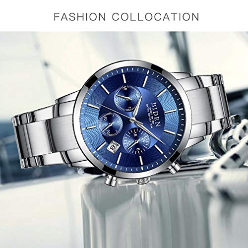 Watch,Mens Watches,Sport Casual Fashion Business Wrist Watch,Stainless Steel Waterproof Silver Blue Multifunctional Chronograph by ASWANWATCH (Image #3)