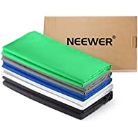 Neewer 5 Pieces of 6 x 9FT/1.8 x 2.8M Photo Studio Muslin Collapsible Background Backdrops (White/Black/Blue/Grey/Green) for Photography,Video and Television (Backdrops ONLY)
