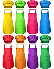 8 Pieces Kids Apron and 8 Pieces Chef Hat Set Kids Apron with 2 Pockets Children Adjustable Chef Apron and Hats for Boys Girl's Kitchen Cooking Baking Painting Wear(Multi-Color, M for 7-13 Age)