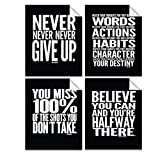 Evolve Skins Motivational Quote Workout Gym Posters - 8' x 10' - Set of 4 - Classroom Office Wall Art - Inspirational Teen Boy Girl Fitness Success Sports Goal Hard Work Black Paper Poster Finish