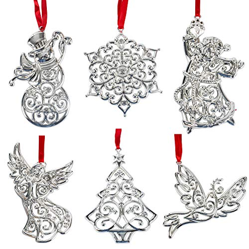- Lenox Sparkle And Scroll Holiday / Christmas Ornaments [Silver-Plated] (set-6)