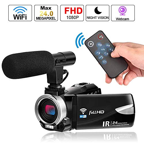 Camcorder Digital Video Camera, Weton WiFi Camcorder with Microphone Full HD 1080P Vlogging Camera for YouTube 30 FPS 24.0 MP Video Recorder LCD IR Night Vision Vlog Camera(Two Batteries Included)
