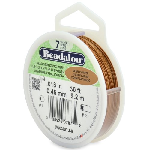 Beadalon 7-Strand Stainless Steel 0.018-Inch Bead Stringing Wire, 30-Feet, Satin Copper ()