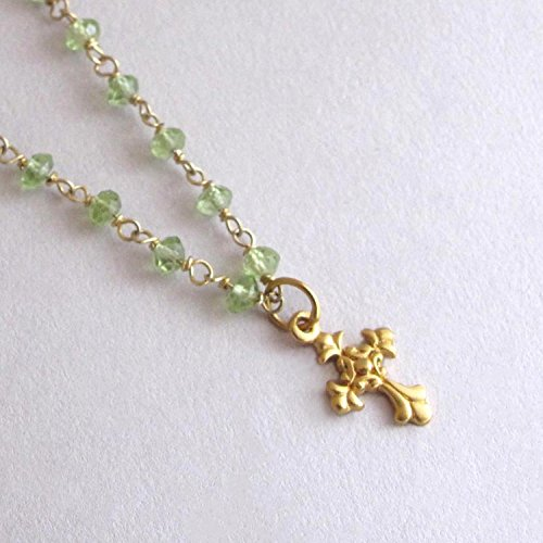 Dainty Cross Necklace Peridot Gemstone August Birthstone  Vermeil   14K Gold Filled 18  Length