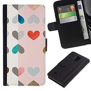 All Phone Most Case / Oferta Especial Cáscara Funda de cuero Monedero Cubierta de proteccion Caso / Wallet Case for Samsung Galaxy Note 4 IV // Hearts Pattern Pink Red Drawing Art