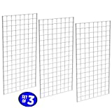 Only Garment Racks #1899WHT (3PCS) Only Garment Racks Commercial Grade Gridwall Panels - Heavy Duty Grid Panel for Any Retail Display, 2' Width x 4' Height, 3 Gridwall Panels Per Carton (White Finish)