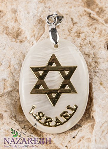 Star of David Pearl Pendant Mother of Pearl Israel Magen David Amulet (Jerusalem Star)