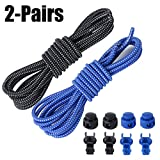 Round Shoelaces, Aniwon 2Pairs Hiking Durable Waxed Bootlaces 3.28ft Elastic No Tie Lock Shoelaces with Lace Lock Cord Clip for Sports and Casual Shoes