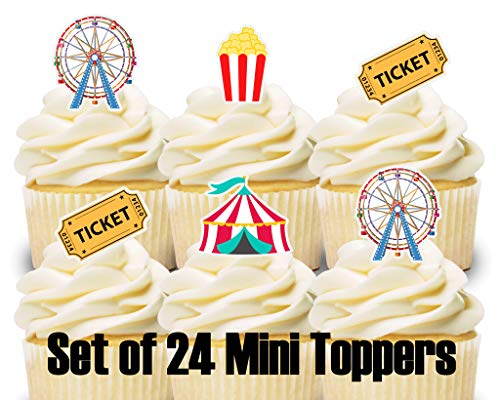 24 Mini Cupcake Toppers Carnival Circus/Birthday Party/Cake Decorations