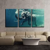 Fashionable 3 Piece Canvas Wall Art,Swimming Elephant Underwater. African Elephant in Ocean with Mirrors and Ripples,Modern Home Decor Stretched and Framed Ready to Hang,16''x24''x3 Panels