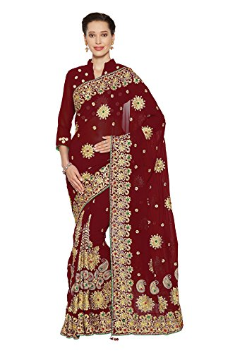 Women FauxGeorgette Bridal Wedding Saree Mirchi Fashion Indian Sari(5239_Maroon)