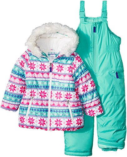 - Carter's Girls' Toddler 2-Piece Heavyweight Printed Snowsuit, Fair Isle Snowflake, 4T