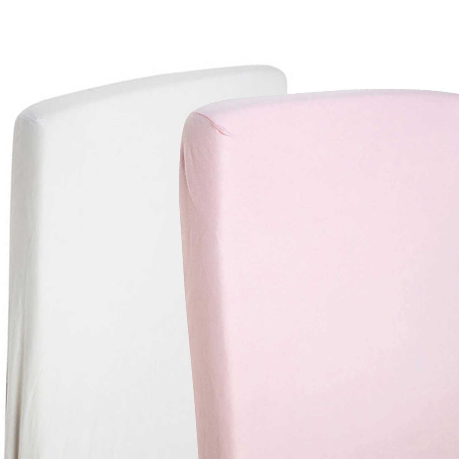 2x Fitted Sheets Compatible With Snuzpod Bedside Crib 100% Cotton - White/Pink-By For-Your-Little-One