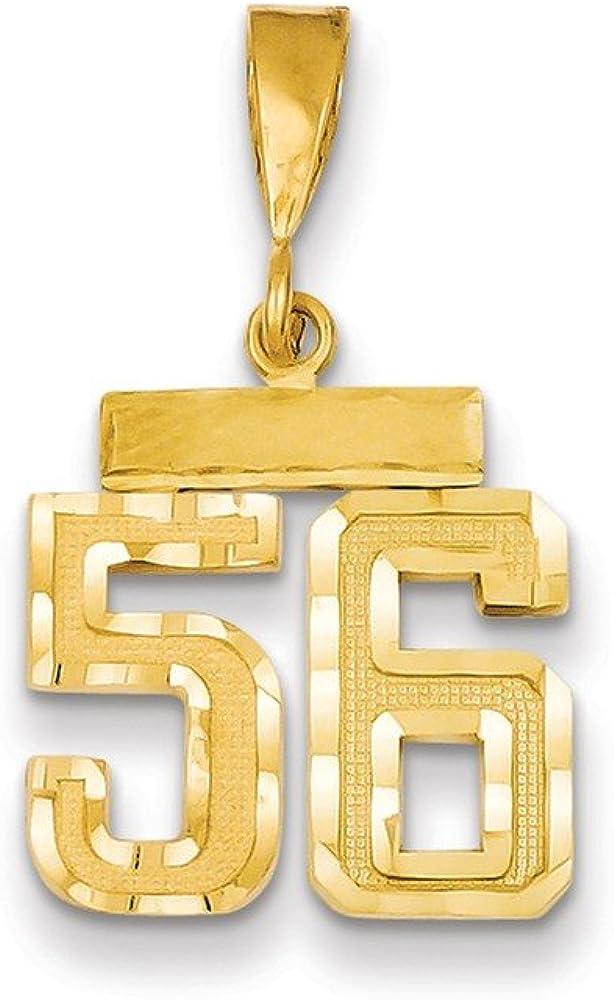 14ky Casted Medium Diamond Cut Number 5 Charm