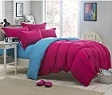 BEIRU Solid Color Shuangpin Bedding Simple Student Four Sets Of Bed Linen Cover 4 Pieces ZXCV (Color : Rose Red, Size : 180220cm)