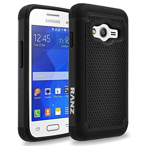 Ace Cover (Samsung Galaxy Ace 4 Lite Case, RANZ Black Heavy Duty Dual Layer Armored Hybrid Case Cover For Samsung Galaxy Ace 4 Lite G313ML)