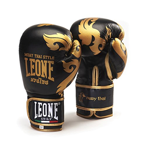 Leone Bufalo Leather Muay Thai Boxing Gloves - Black Gold - 10OZ by Leone