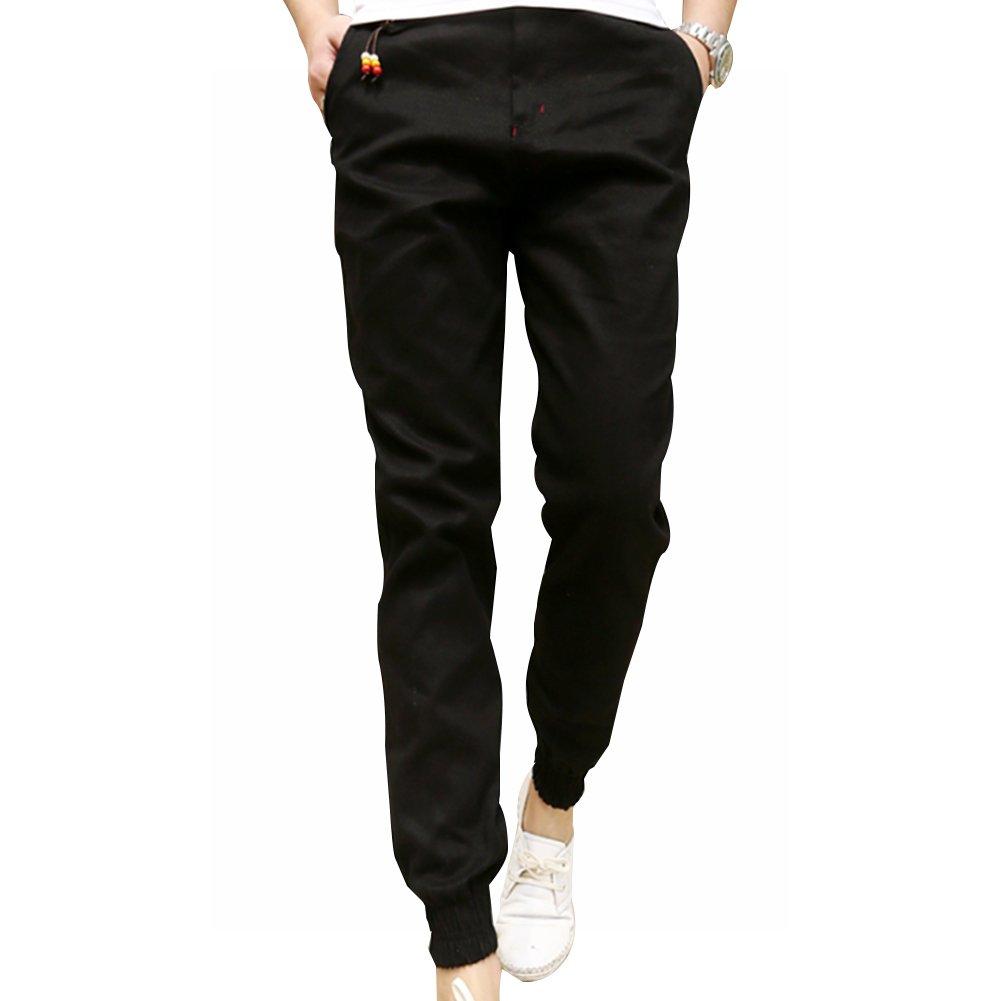LONGBIDA Mens Skinny Joggers Chinos Slim Pants Men Trousers Hip Hop Pantalones Hombre(Black,3XL) by LONGBIDA