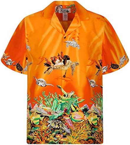 KYs | Original Camisa Hawaiana | Caballeros | S - 6XL | Manga Corta | Bolsillo Delantero | Estampado Hawaiano |arrecife de coral tortugas