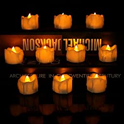 Micandle 24pcs Amber Yellow Flickering Flameless Candles,smokeless Realistic Flashing Glow Light, Tear Wax Dripped LED Tealights, Battery Operated Electronic Candles for Wedding, Party and Chirstmas