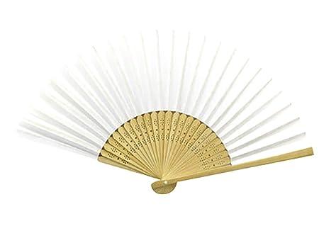 Lumanuby 1x DIY Hand Fächer aus Bambus und Papier Taschenfächer Faltbare Fan für Dekoration und Malerei Hochzeit Zubehör (Wei