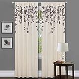 Triangle Home Fashions Lush Decor Flower Drop Curtain Panel, Purple