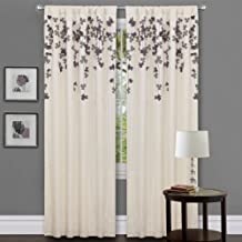 Triangle Home Fashions Lush Decor Flower Drop Curtain Panel, Purple