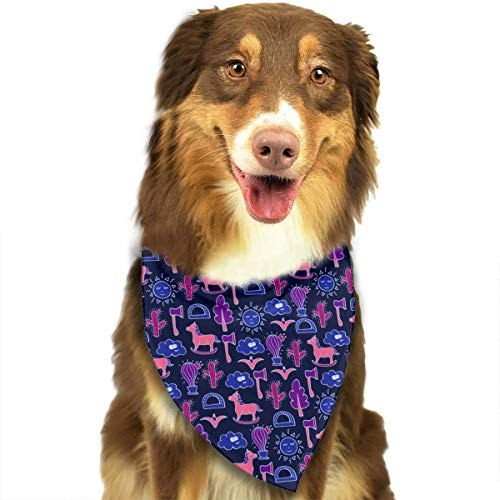 (CWWJQ88 Lovely Horses Cactuses Axes Pattern Pet Dog Bandana Triangle Bibs Scarf - Easy to Tie On Your Dogs & Cats Pets Animals - Comfortable and Stylish Pet)