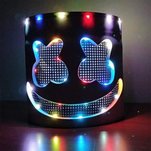 SDUQAN DJ Marshmello Mask for Kids,Halloween Christmas Party Supplies Costume Decor Led DJ Mask Musical Festival Gifts (Upgrade) -