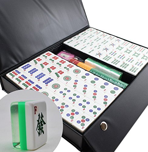 Chinese Mahjong (We pay your sales tax 高品質麻將 [壓克力材質] Chinese Numbered Large Acrylic Tiles Mahjong Set 144 Green Tiles 1.3