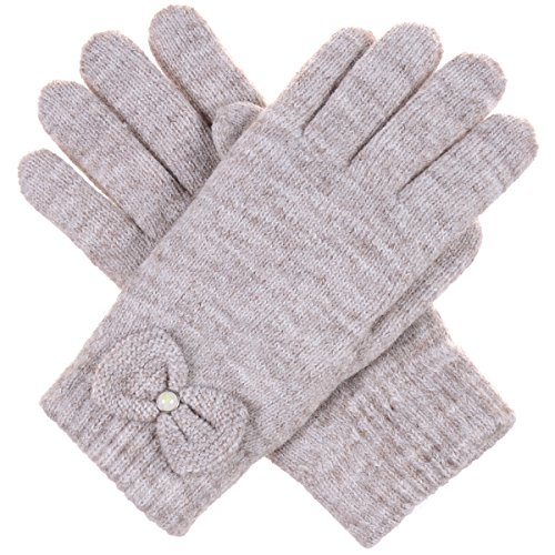 BYOS Womens Winter Ultra Warm Soft Plush Faux Fur Fleece Lined Knit Gloves W/ Decorated Cuff (Nature Beige Pearl Bow Cuff) (Pearl Plush Fleece Glove)