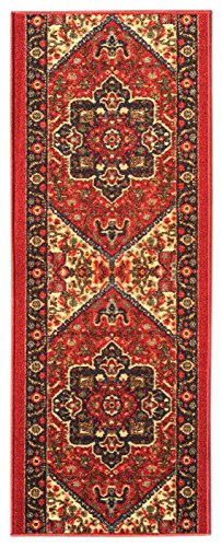 Custom Size RED Persian Medallion Rubber Backed Non-Slip Hallway Stair Runner Rug Carpet 22 inch Wide Choose Your Length 22in X 29ft 29' Bath