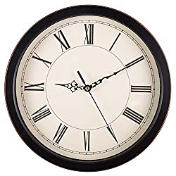 Bekith 13 Inch Retro Large Non Ticking Clock Vintage Roman Numeral Silent Wall Clock