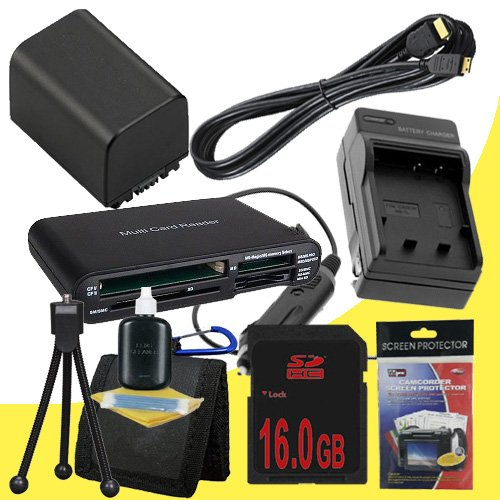 NP-FV100 Lithium Ion Replacement Battery w/Charger + 16GB SDHC Memory Card + Mini HDMI + Memory Card Reader/Wallet + Deluxe Starter Kit for Sony NEXVG10, NEXVG20 Interchangeable Lens HD Handycam Camcorder DavisMAX Accessory Bundle
