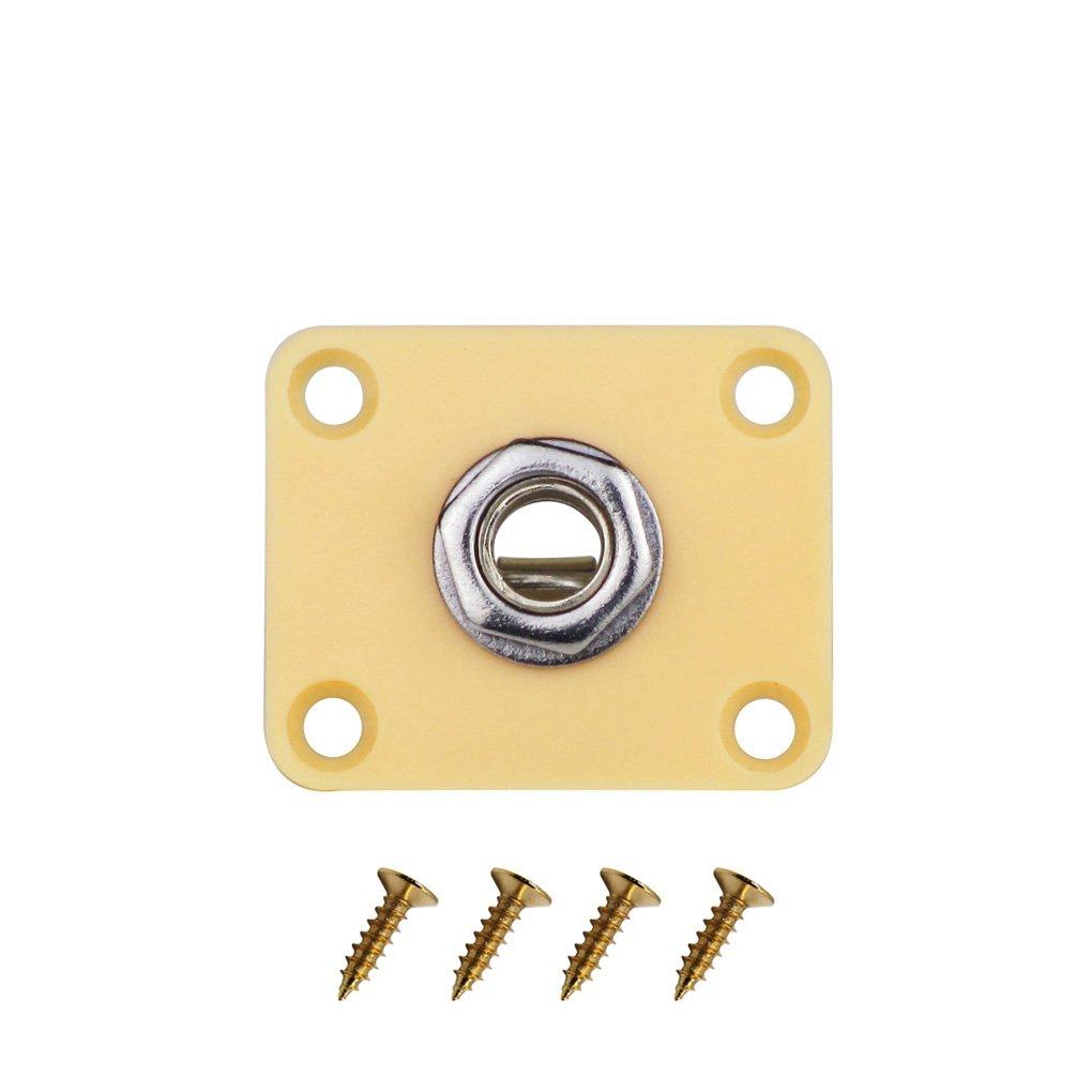 FLEOR 1 pieza cuadrada de plástico de color crema para guitarra jack conector de salida/entrada para guitarra eléctrica de repuesto: Amazon.es: Instrumentos ...