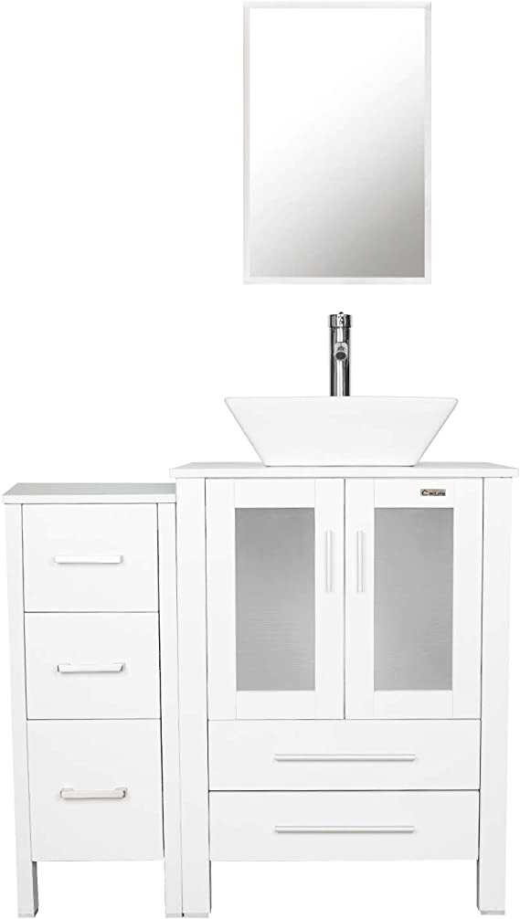 W Mirror A04b02gyb11gy Eclife 36 Bathroom Vanity Sink Combo Grey W Side Cabinet Vanity Ocean Blue Square Tempered Glass Vessel Sink And Orb Solid Brass Faucet And Pop Up Drain Kitchen Bath Fixtures
