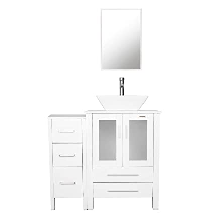 Swell Eclife 36 White Bathroom Vanity Sink Combo W White Side Cabinet Vanity W Square White Ceramic Vessel Sink Chrome Bathroom Solid Brass Faucet And Pop Home Interior And Landscaping Ologienasavecom