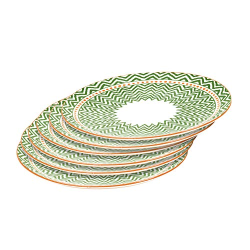 Everyday Plates for Serving Food - Salad Sushi Snacks, 6-Piece, Porcelain, 10.3 Inch - Green