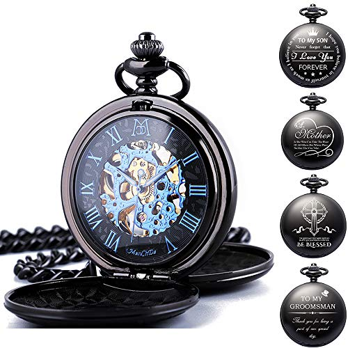 ManChDa Mechanical Double Cover Roman Numerals Dial Skeleton Pocket Watches with Gift Box and Chain for Mens - Yellow Pocket Watch Engraved