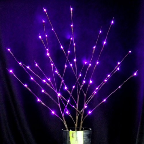 Lighted Branches With 60 Purple LEDs; Plug-in UL Adapter With Cord
