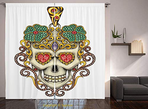 - Living Room Bedroom Window Drapes/Rod Pocket Curtain Panel Satin Curtains/2 Curtain Panels/84 x 84 Inch/Day Of The Dead,Sugar Skull with Heart Pendants Floral Colorful Design Print Decorative,White Iv