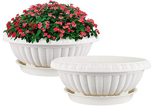 Mkono 2 Pack Plastic Planter Bowl 12 Inches Plant Pots with Saucers, Beige -