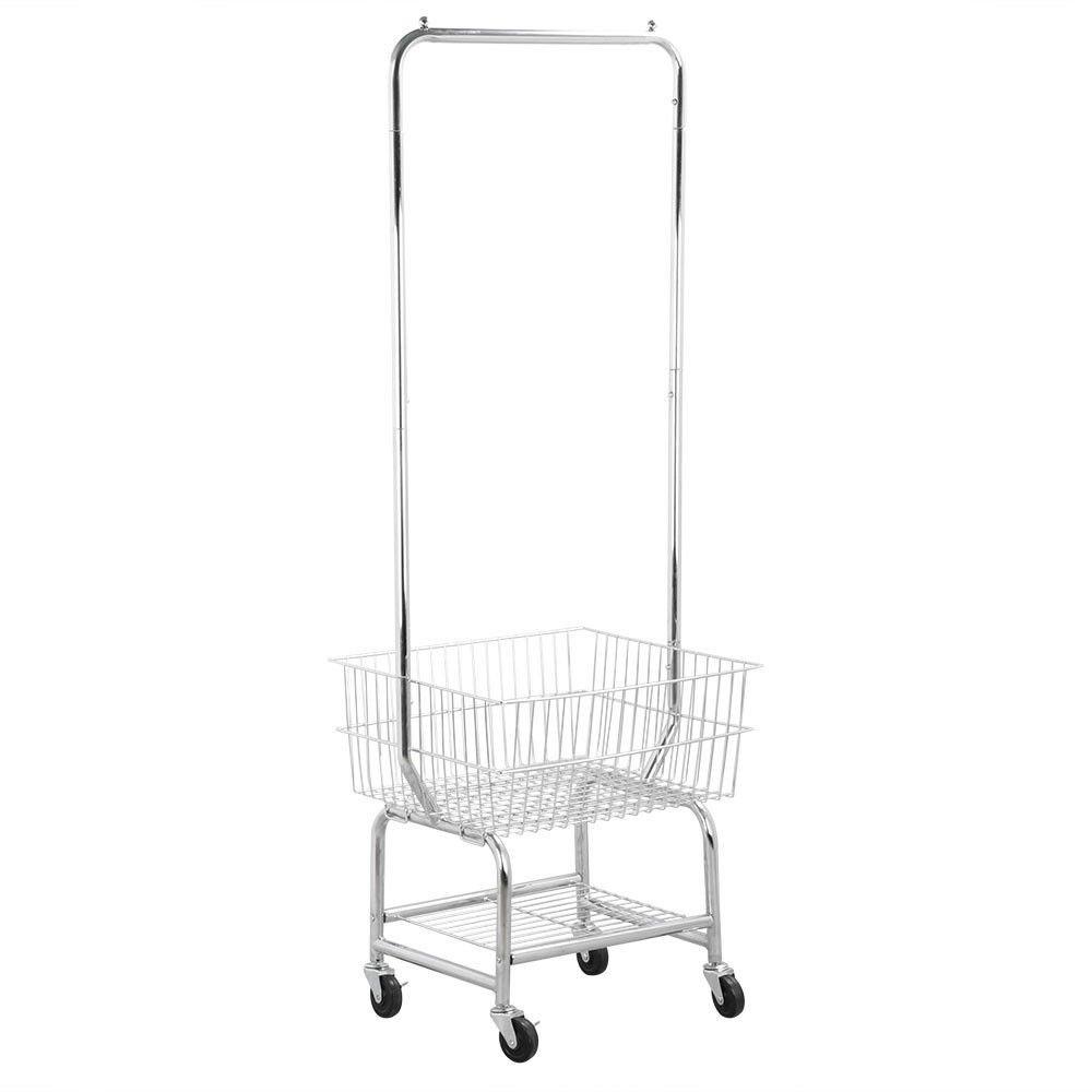 Rolling Laundry Cart Organizer w/Storage Basket Double Pole Rack Hamper Silver