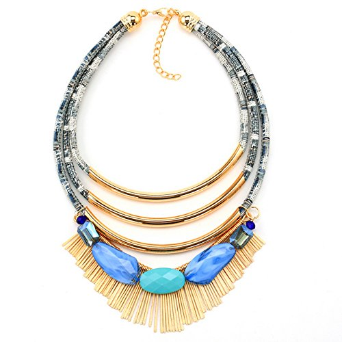 PSNECK s Bohemian tribal style Long leather collar multilayer tube (Vintage Lucite White Tube)